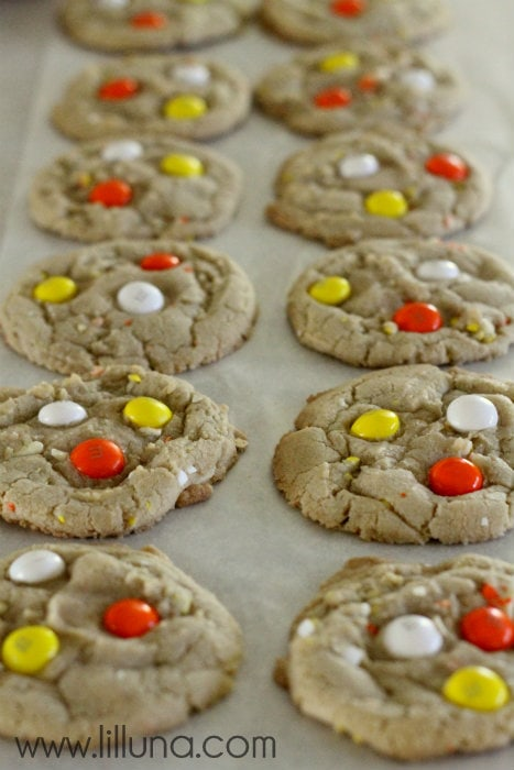 White Chocolate Candy Corn M&M Cookies recipe on { lilluna.com } Super soft and so good!!
