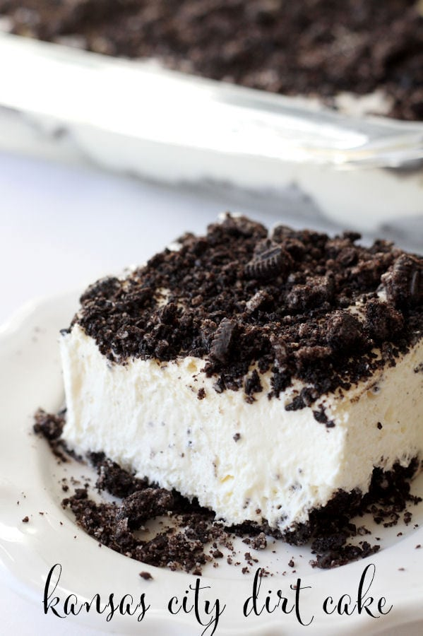 Kansas City Dirt Cake. Delicious crushed oreos on the top & bottom with a cream cheese, cool whip & pudding middle!