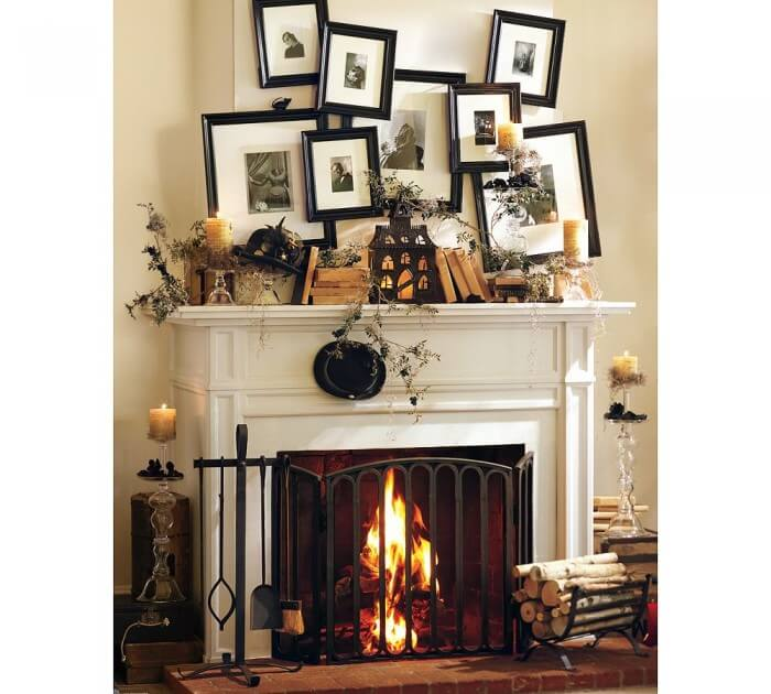 A great collection of 25+ Halloween Mantels!! Lots of spooky ideas!!