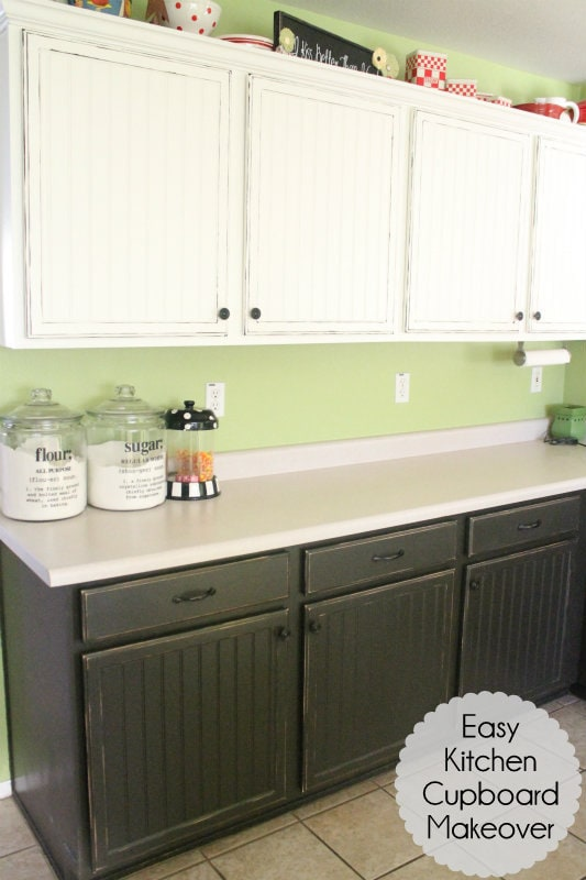 Easy Kitchen Cupboard Makeover! Great way to get the look you want!!