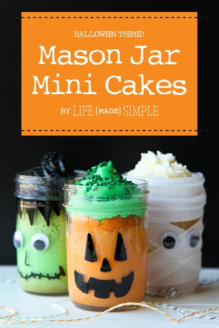 Halloween Themed Mason Jar Mini Cakes! The perfect little cake that kids will love!!