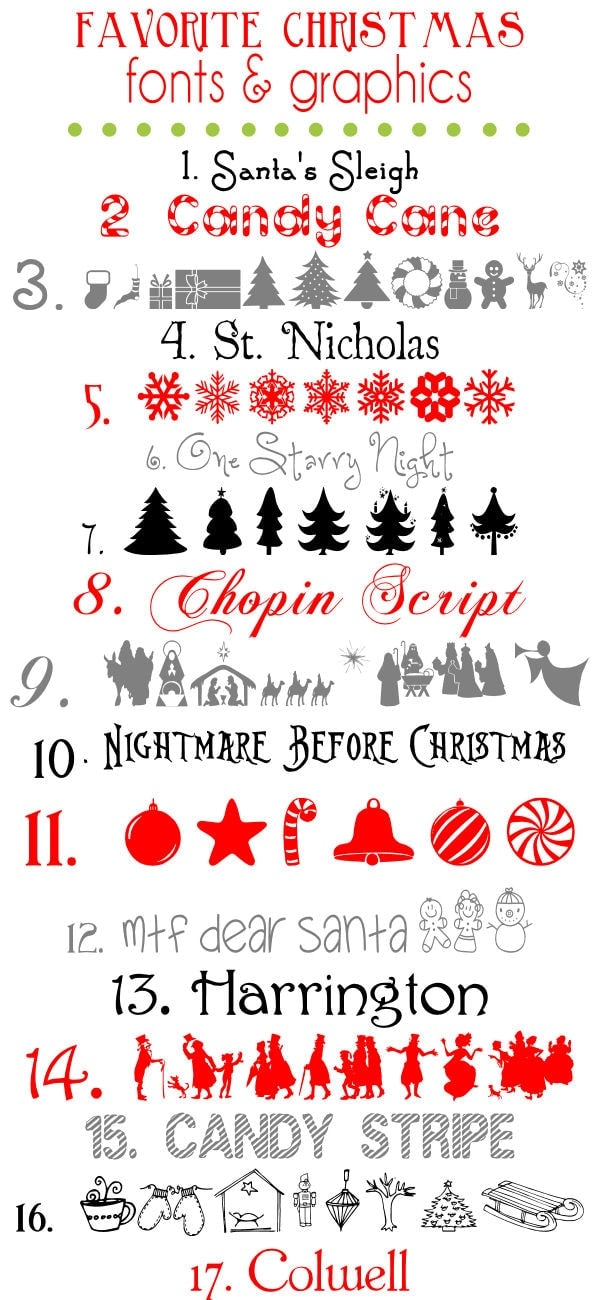 Favorite Free Christmas Fonts and Graphics { lilluna.com } Very festive!!