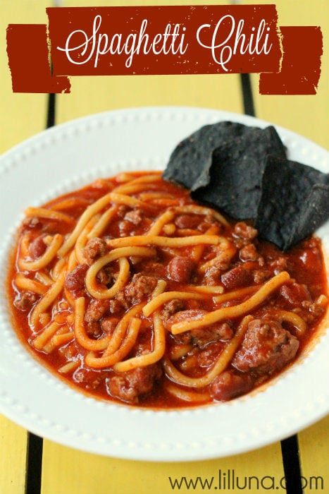 Yummy Spaghetti Chili!! So easy, just throw all the ingredients in a crockpot!