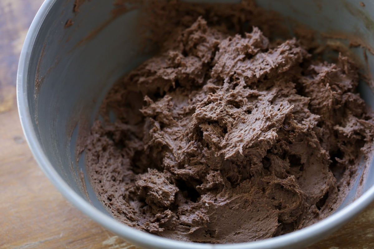 Chocolate dough in a mixing bowl