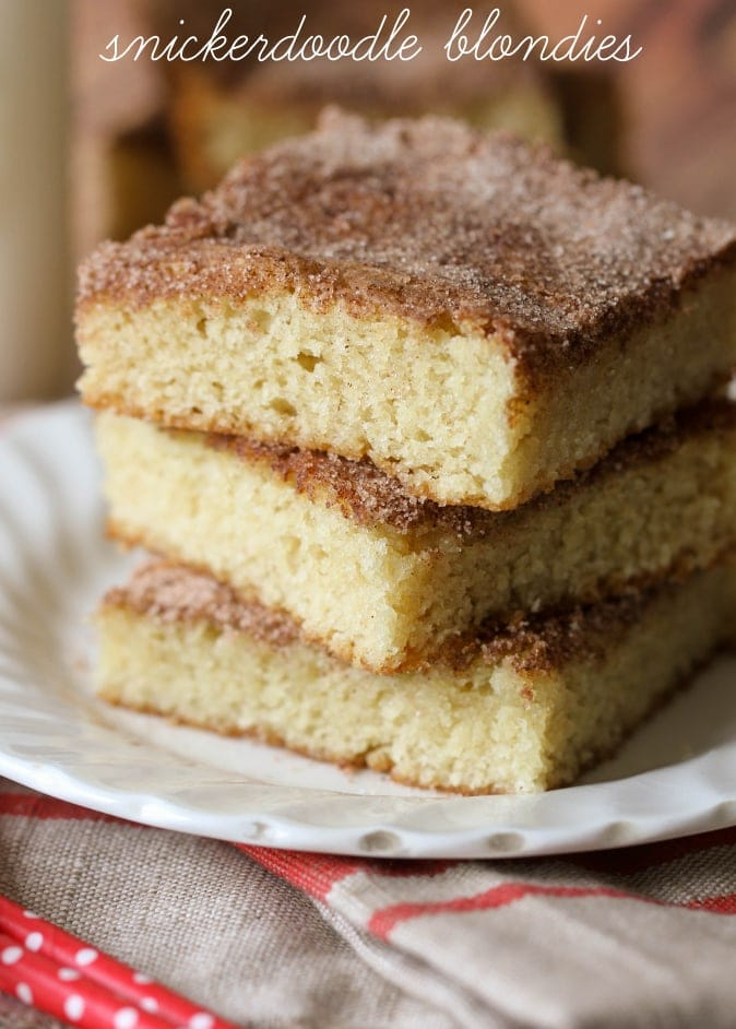 Snickerdoodle Blondies recipe. If you love snickerdoodles, then you'll love this soft cake like version!!