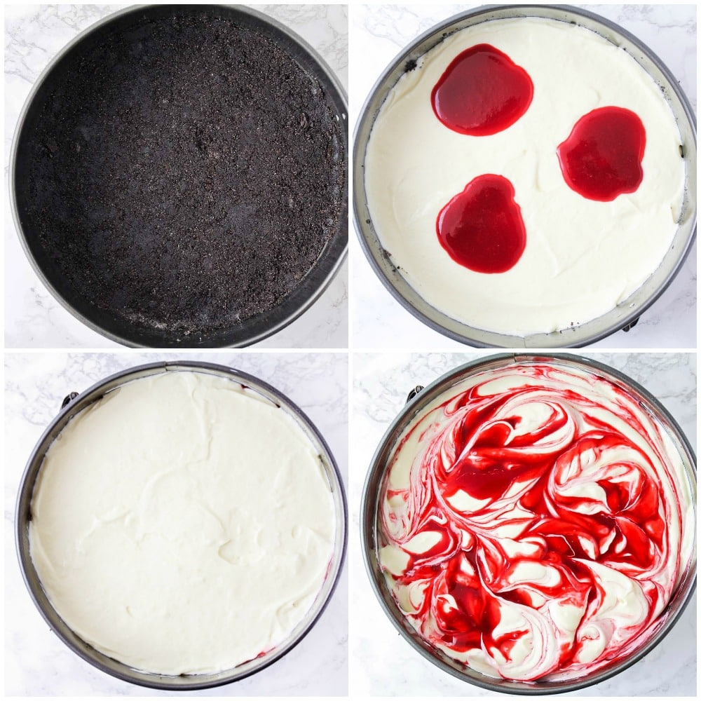 process shots of oreo crust, cheesecake filling, and adding raspberry swirl on top