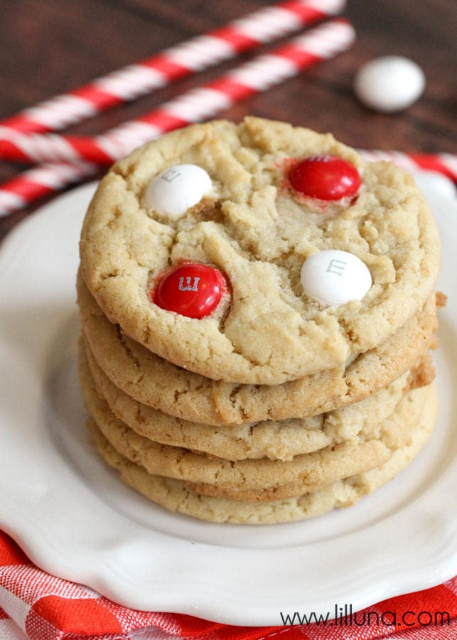 Soft and festive White Chocolate Peppermint M&M Cookies { lilluna.com }