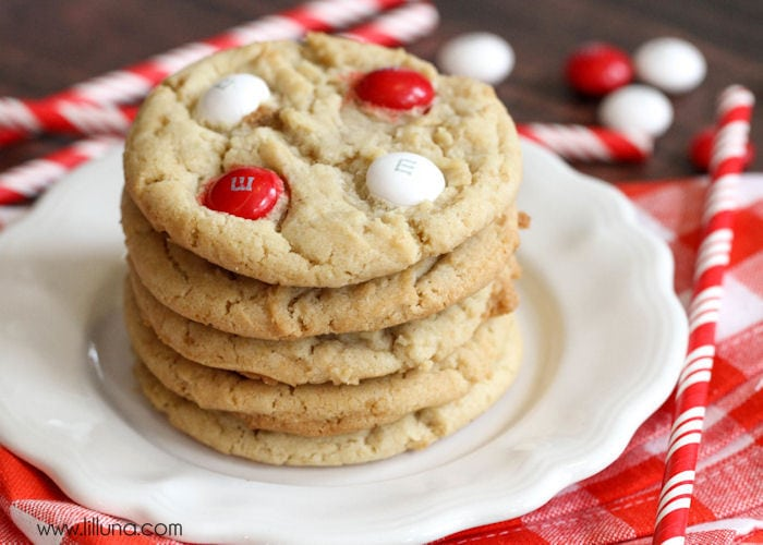 Soft and festive White Chocolate Peppermint M&M Cookies { lilluna.com } These cookies are delicious and filled with white chocolate chips and white chocolate peppermint m&m's!!