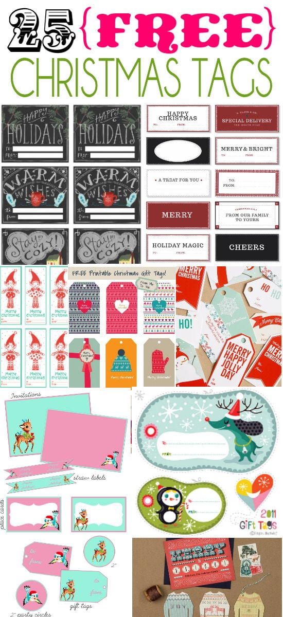 25 Free Christmas Tags on { lilluna.com } So many fun tags that can be used on so many things!