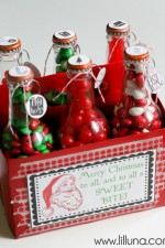 Christmas Pop Bottle Set. Cute gift idea. Free printables at { lilluna.com }
