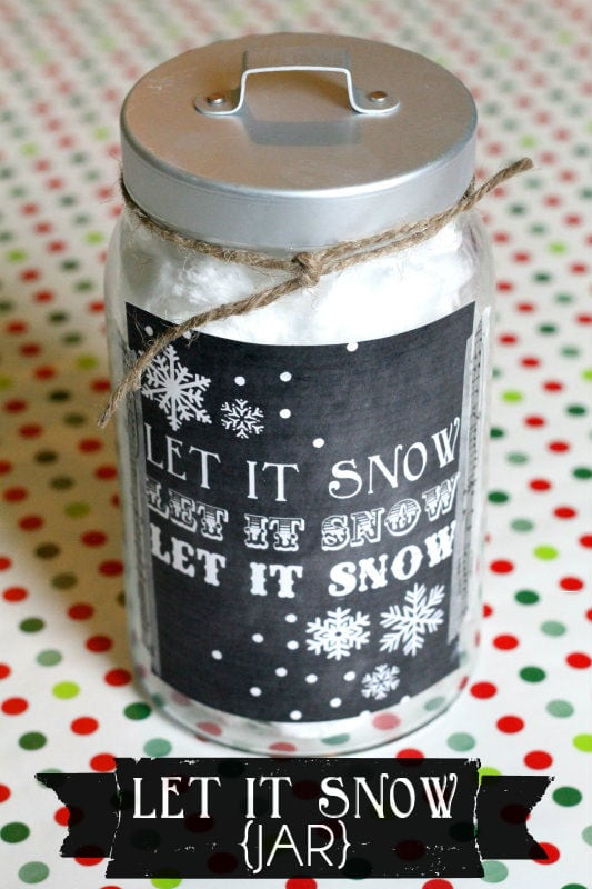 Let it Snow Print & Jar!! Fill with cotton candy, add the label & you have a cute little gift!