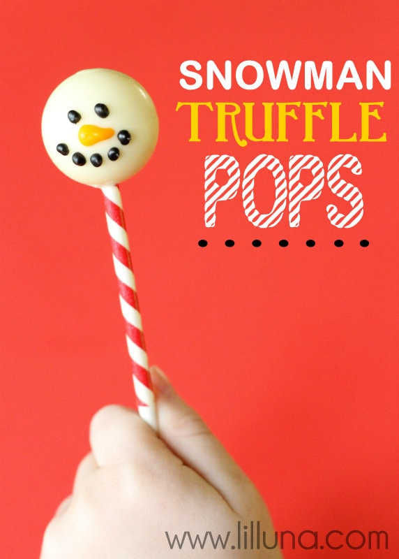 Super fun and cute Snowman Truffle Pops!! Dipped Lindor chocolates on a stick, so easy!