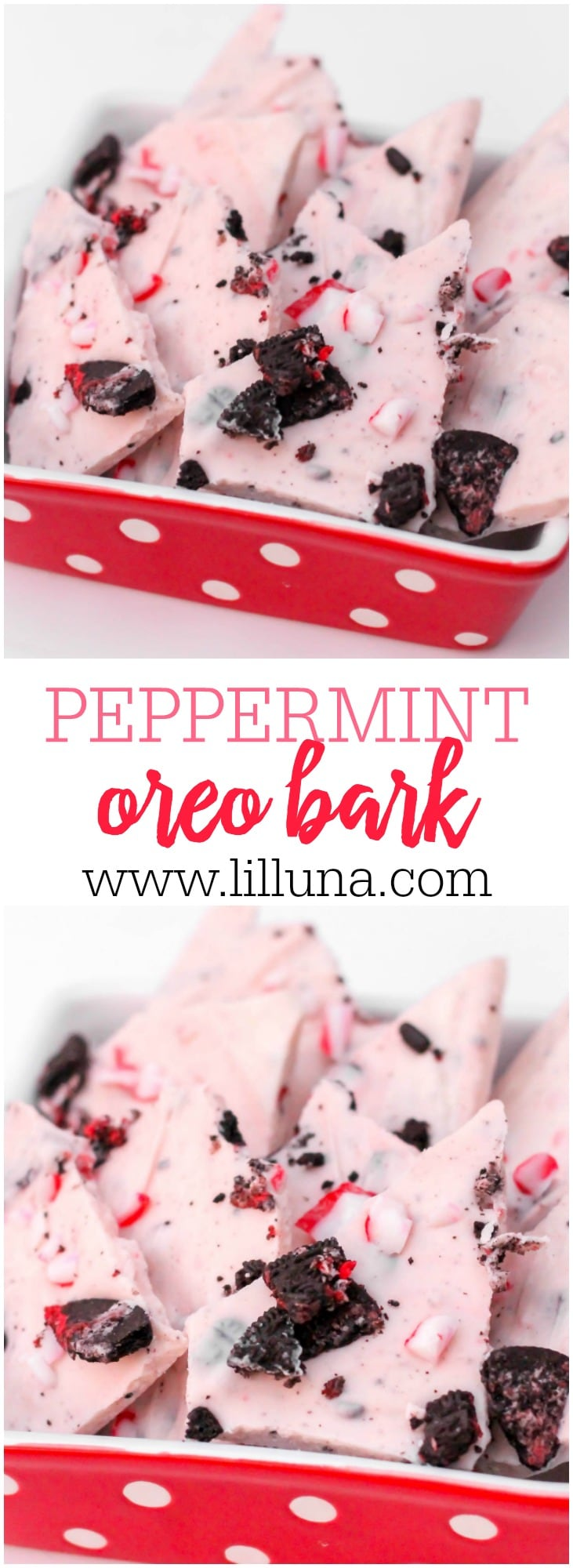 Candy Cane Oreo Peppermint Bark. Quick, easy and YUMMY! Vanilla candy coating melted with oil and butter and mixed with candy cane oreos and crushed candy canes!