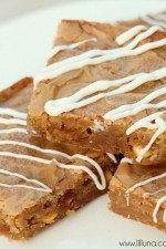 Chewy White Chocolate Caramel Blondies recipe on { lilluna.com } #blondies