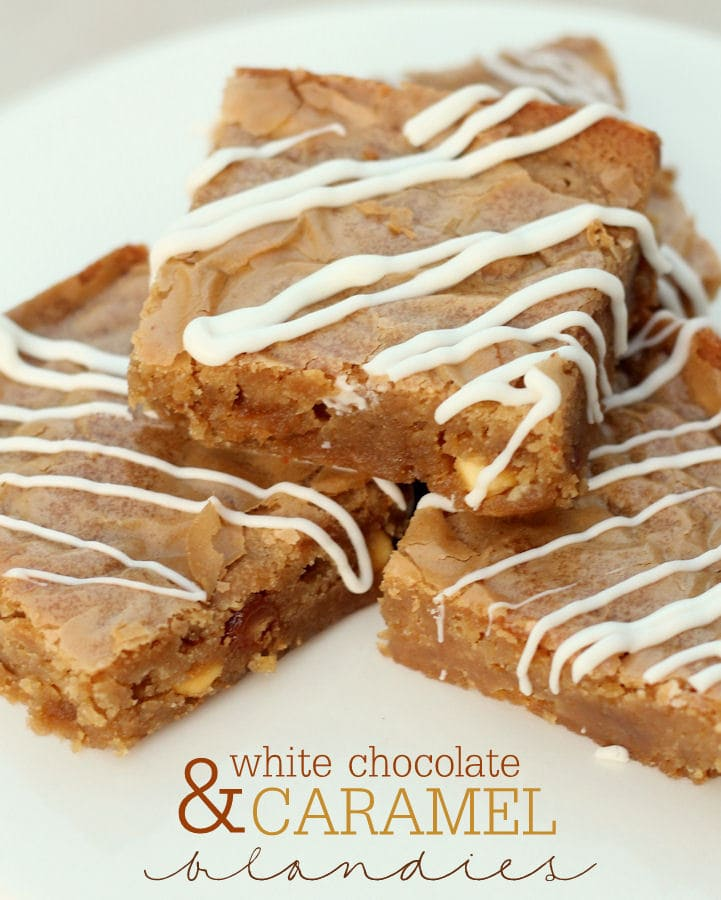 White Chocolate Caramel Blondies recipe on { lilluna.com } A soft, buttery blondie filled with caramel bits and drizzled with white chocolate!!