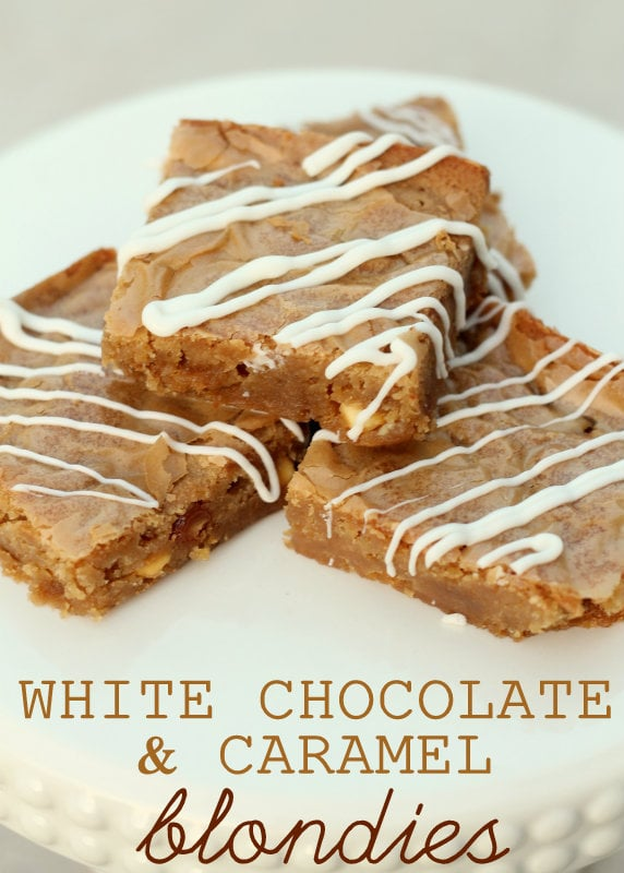 White Chocolate and Caramel Blondies. YUMMY!! Recipe on { lilluna.com } #blondies