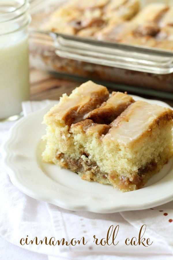 Cinnamon Roll Cake - one of the most delicious things you'll ever make! { lilluna.com } A moist cake with a light glaze and full of cinnamon. This is a great breakfast recipe!!