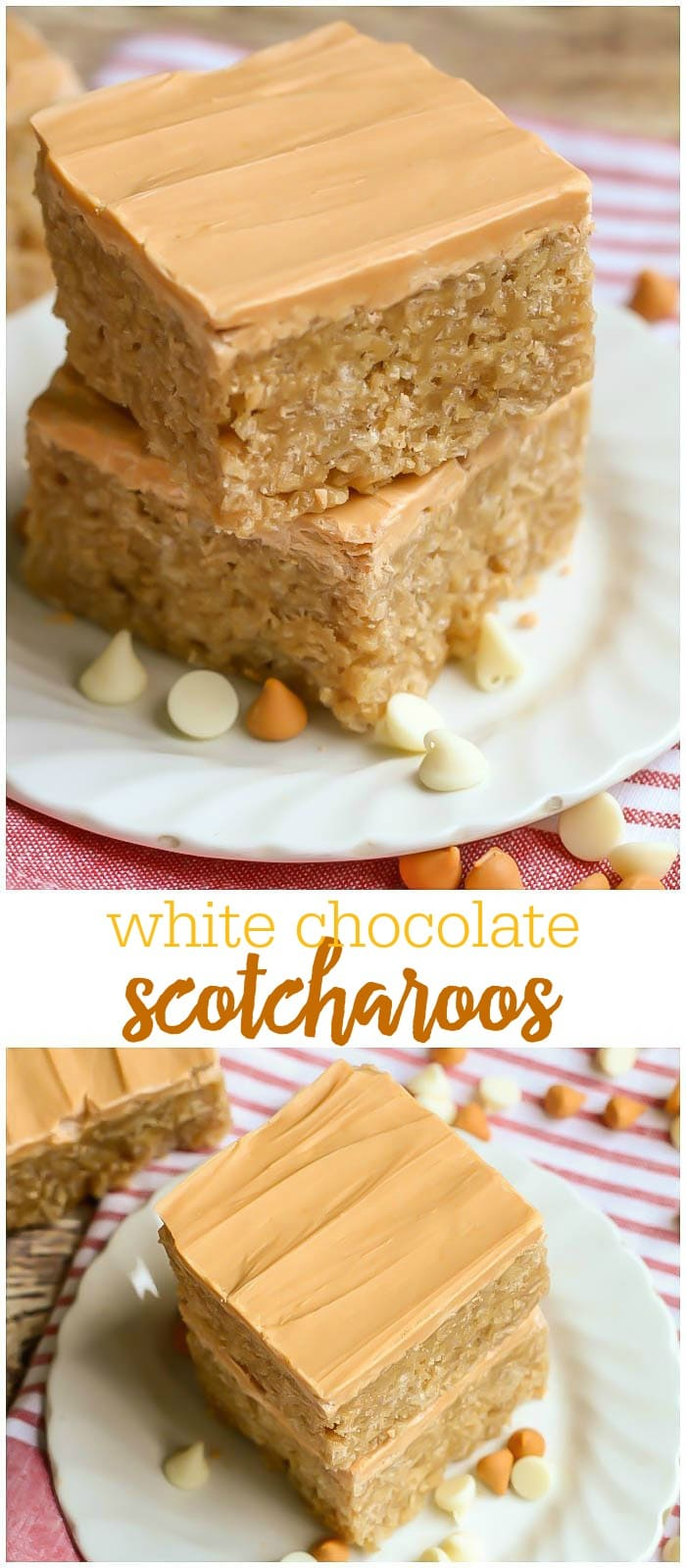The yummiest White Chocolate Scotcharoos!! These easy Peanut butter rice krispies have a white chocolate & butterscotch frosting!