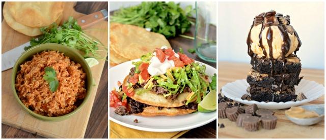 Spanish rice, Steak tostadas, & the ultimate chocolate & peanut butter brownie sundae!!