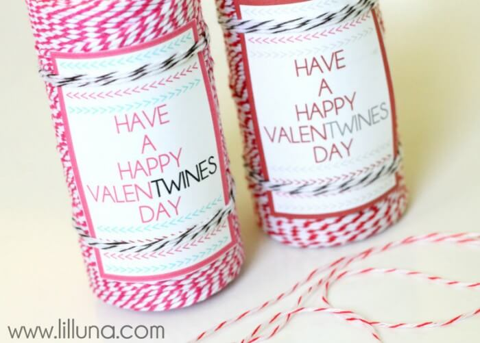Have a Happy ValenTWINES Day. Cute gift idea. Free prints on { lilluna.com }