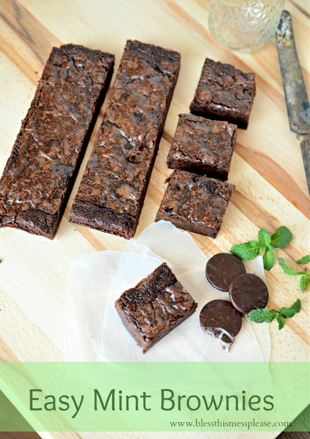 Easy mint brownies. Yummy!! Recipe on { lilluna.com } Few ingredients, including a brownie mix & thin mints or junior mints make these irresistible!