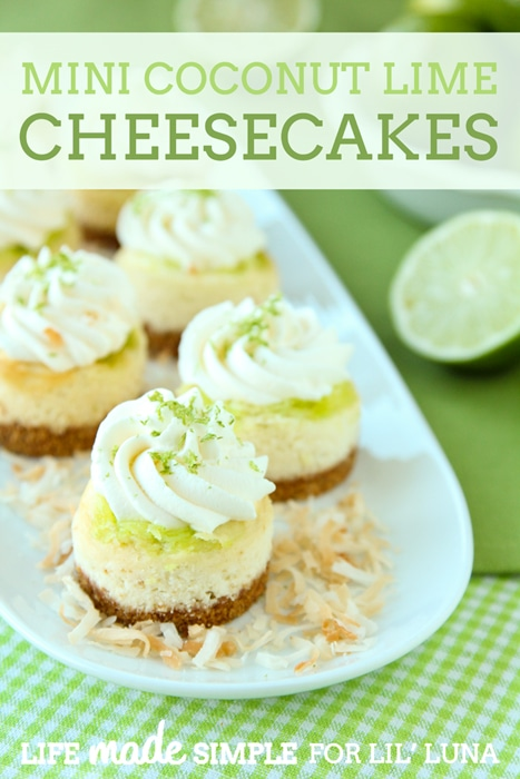 Mini Coconut Lime Cheesecakes. YUMMY!! Recipe on { lilluna.com } Layers of graham crust, cheesecake, lime curd, & coconut whipped topping!