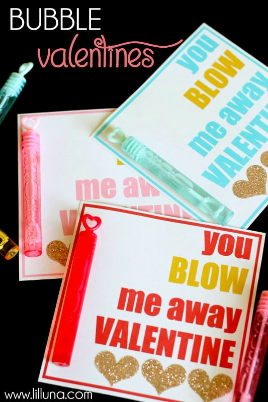 You BLOW Me Away, Valentine! Just add bubbles! Cute idea and free prints on { lilluna.com }