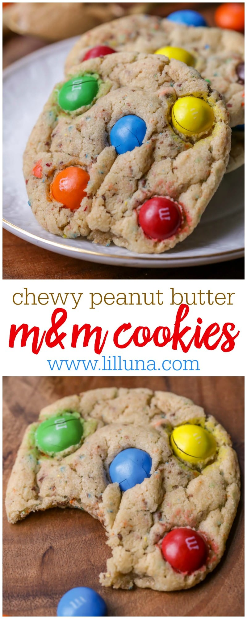 Chewy Peanut Butter M&M Cookies - chunks of M&Ms through out and on top of these delicious peanut butter cookies make them irresistible!