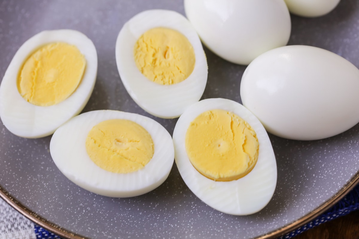 Perfect Hard Boiled Eggs on plate