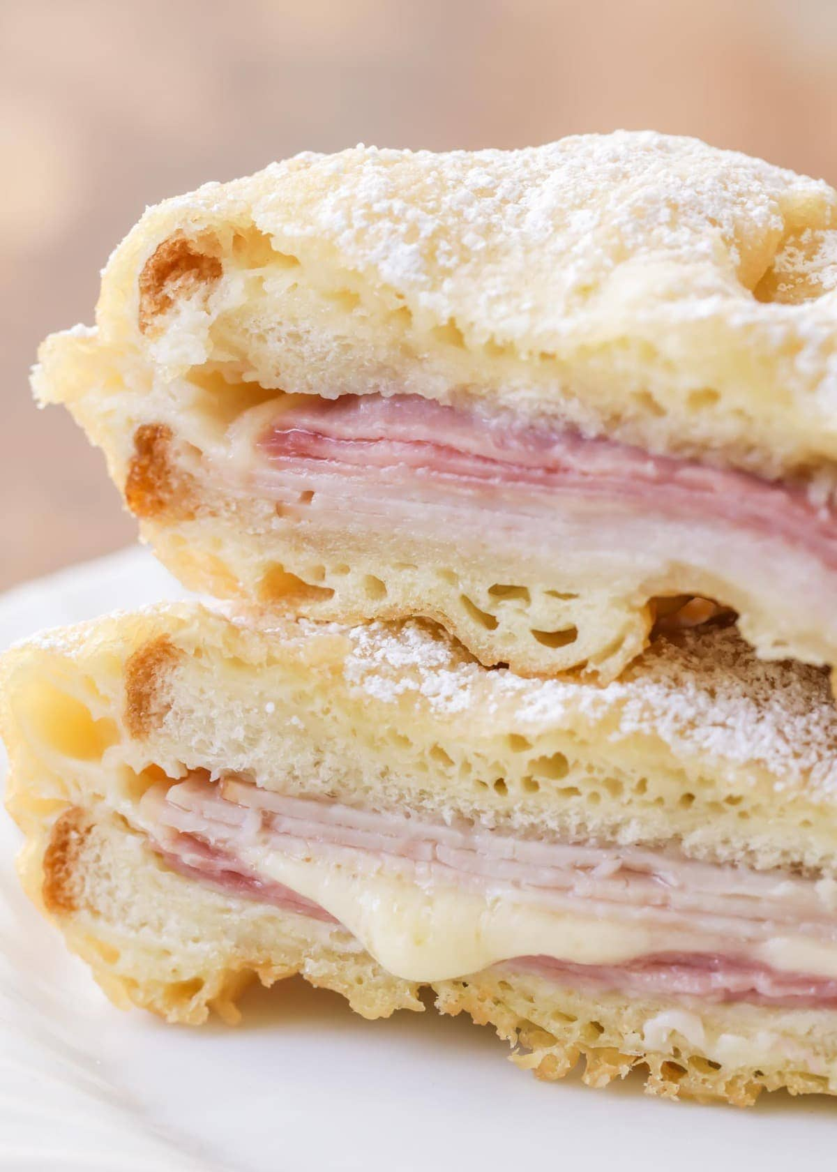 close up of a fried monte cristo sandwich