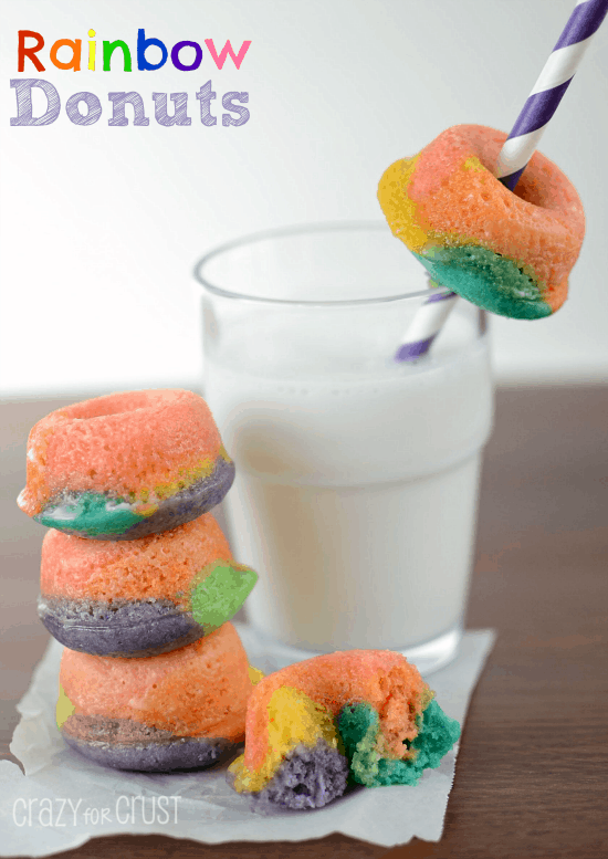 How to make these colorful Rainbow Donuts! Moist and delish!