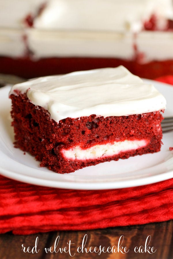 Red Velvet Cheesecake Cake with Homemade Cream Cheese frosting { lilluna.com } Super moist and sooo good!!