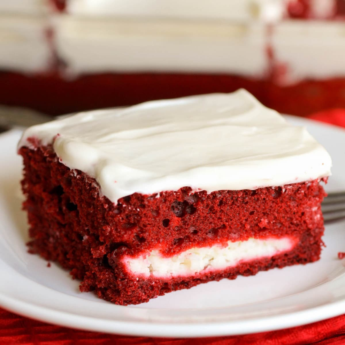 Red Velvet Cheesecake Cake on Plate