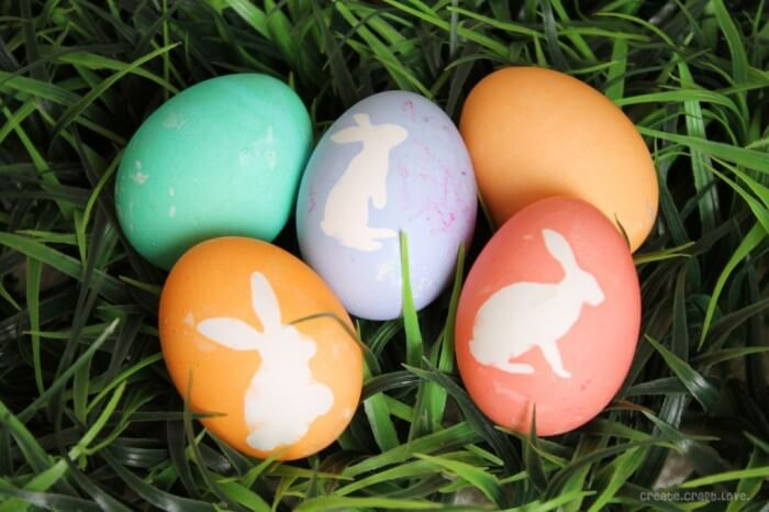 Bunny Silhouette Dyed Easter Eggs