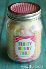 Fluffy Bunny Tails Easter Gift with free prints #easter