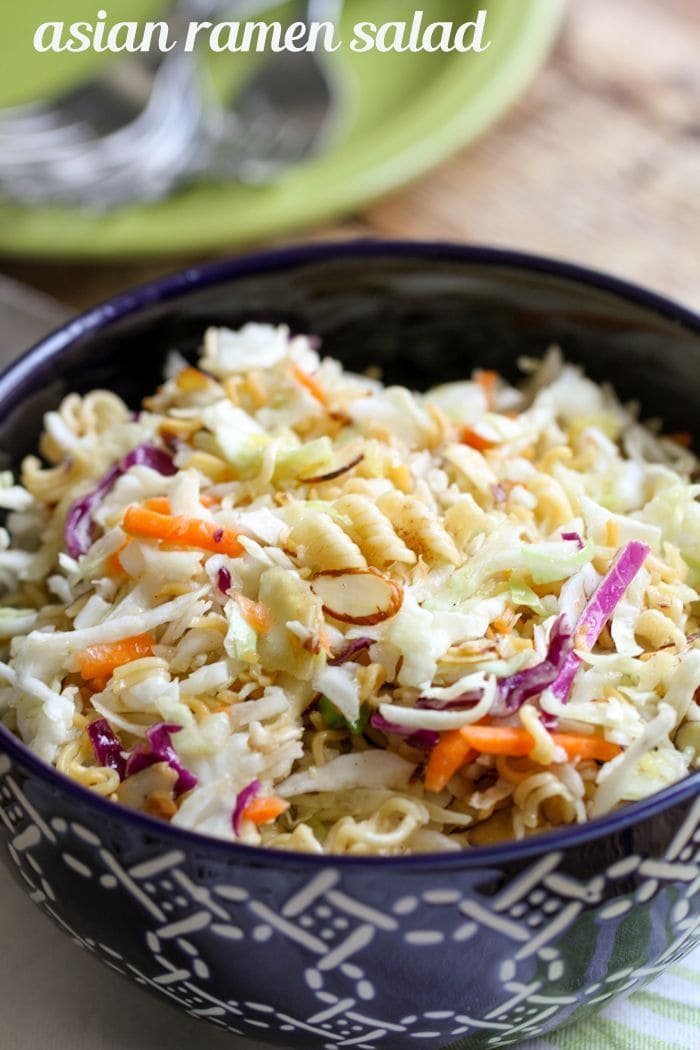 Asian Ramen Salad that is easy and yummy - perfect for your next party or BBQ! Simple ingredients including ramen, almonds, & coleslaw in a delicious dressing!