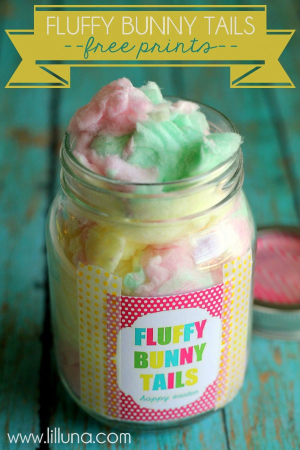 Cute Easter Gift Idea - Fluffy bunny tails!! Free prints on { lilluna.com } Yummy cotton candy in a labeled jar, so easy!