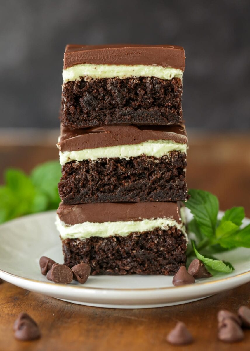 Mint brownies recipe stacked on plate