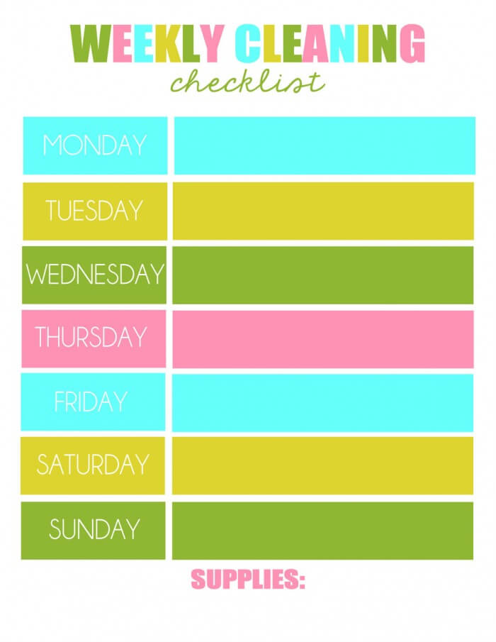 Weekly Cleaning Print on { lilluna.com } Such great tips to get your home clean & organized!