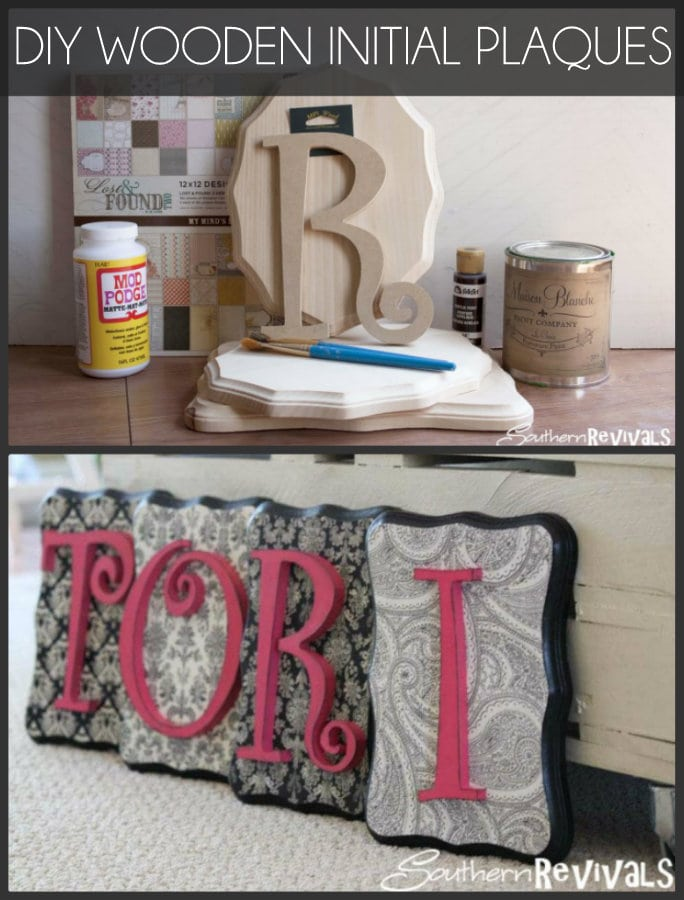 DIY Wooden Initial Plaques - LOVE these! { lilluna.com } So cute and you can customize your own paper & colors!