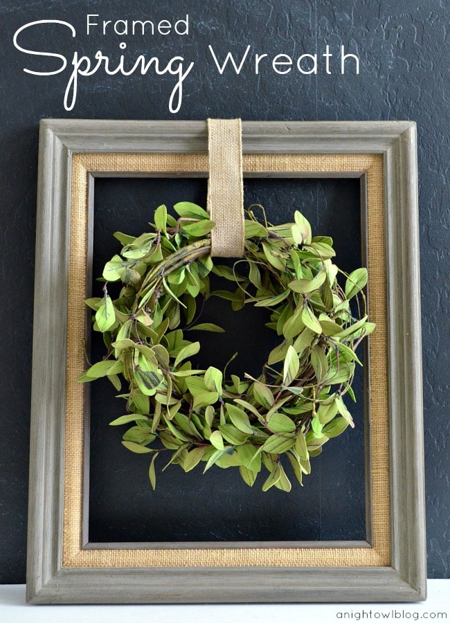 Framed Spring Wreath. Grab an open frame, greenery garland, some burlap & you're ready to make this adorable frame!