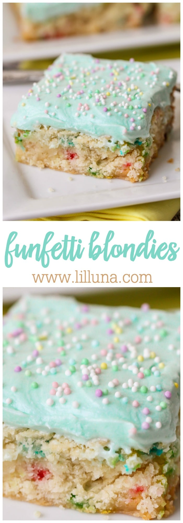 Funfetti Blondies - made with a funfetti cake mix and a few extra ingredients, these babies are easy peasy!! So yummy with delicious homemade frosting on top!