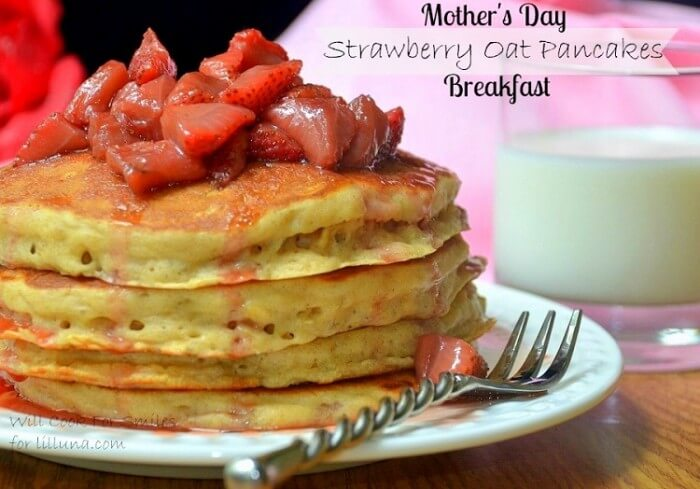 Strawberry Oat Pancakes - these would be perfect for Mother's Day! Pancakes with oats & a hint of cinnamon, topped with brown sugar glazed strawberries!