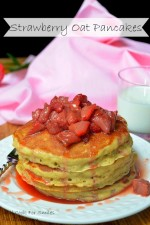 Strawberry Topped Oat Pancakes