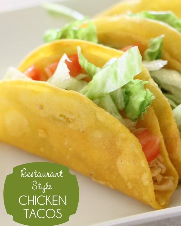Super easy restaurant style Chicken Tacos { lilluna.com } Easy ingredients including shredded chicken, cheese, lettuce, tomatoes, & corn tortillas.
