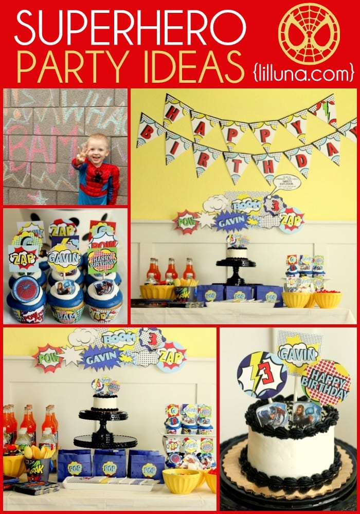 Superhero Birthday Ideas on { lilluna.com } Great ideas for your little superhero's!!