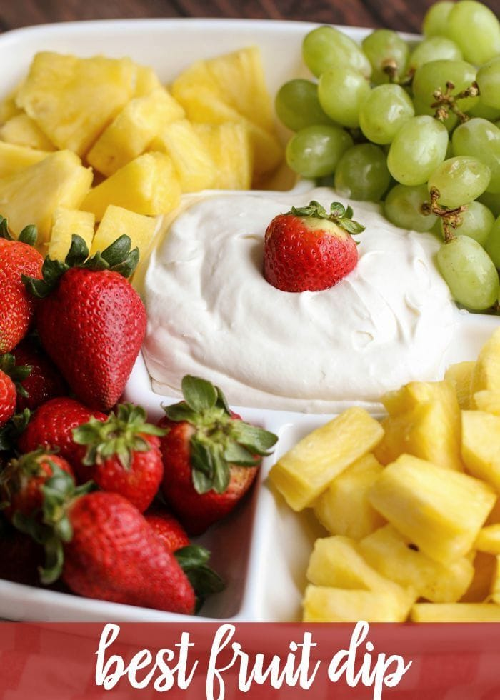 Delicious Fruit Dip - this creamy, cool and AMAZING dip is the perfect recipe to make and share at your next gathering! Everyone loves it! Made with rum flavoring, cool whip, cream cheese, marshmallow fluff, and a few more ingredients!