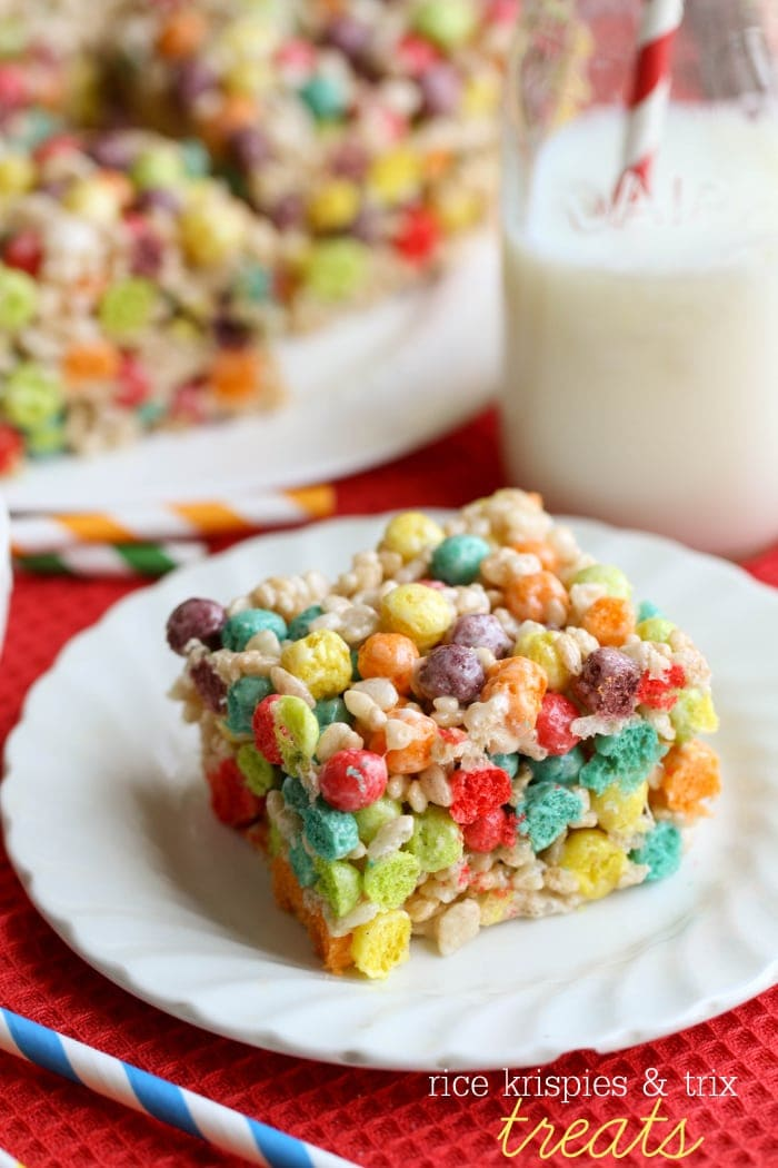 Rice Krispies and Trix treats - the kids love this fun and simple recipe! Who wouldn't love rice krispies, trix, and marshmallows together?!