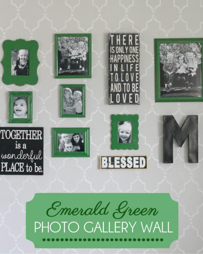 Emerald Green Photo Gallery Wall { lilluna.com } Great decor ideas for your empty walls!