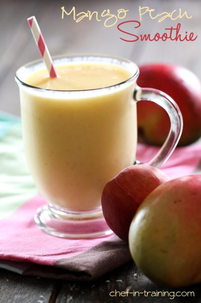 Mango Peach Smoothie - YUMMY! Recipe includes mangos, peaches, orange peach mango juice, and peach yogurt!